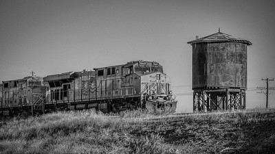Union Pacific Rolls East Past Kimama, Idaho - B&W