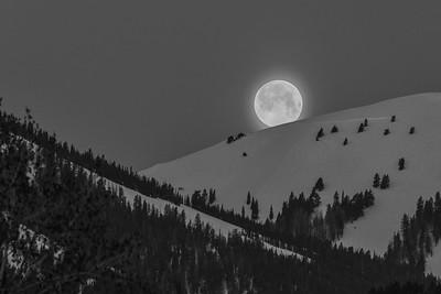 Easter Full Moon Sets Behind Sun Valley, Idaho