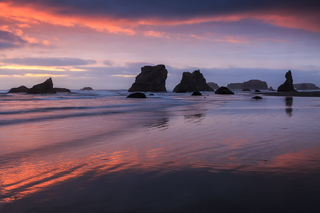 Subtle sunset colors over the beach at Bandon Oregon