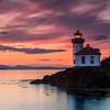 Orange sunset at Lime Kiln Lighthouse (L)