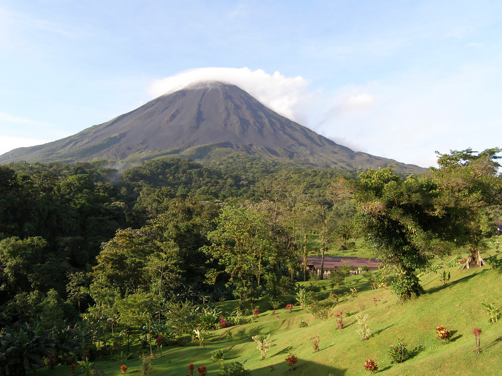 The Arenal volcano, as seen from the balcony of our room  at the Kioro Hotel on a clear morning.