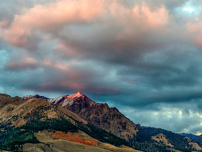 Fall Sunset on Boulder Peak, Idaho