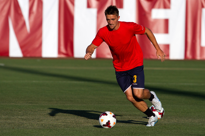 Brandon Swartzendruber was the first player on the pitch during pre-game and practiced from the same position from which he would score the first goal in Arizona United SC history.