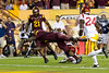 Arizona State running back Marion Grice stretches to reach the end zone as he scores one of his four touchdowns during ASU's 62-41 victory over Southern California on Sept. 28, 2013. Credit: Buckeye Valley News Photo by Michael Rincon - For Editorial Purposes Only