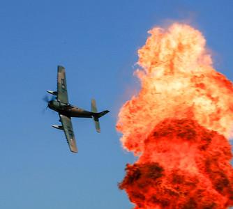 A-1 Skyraider releasing ordnance.