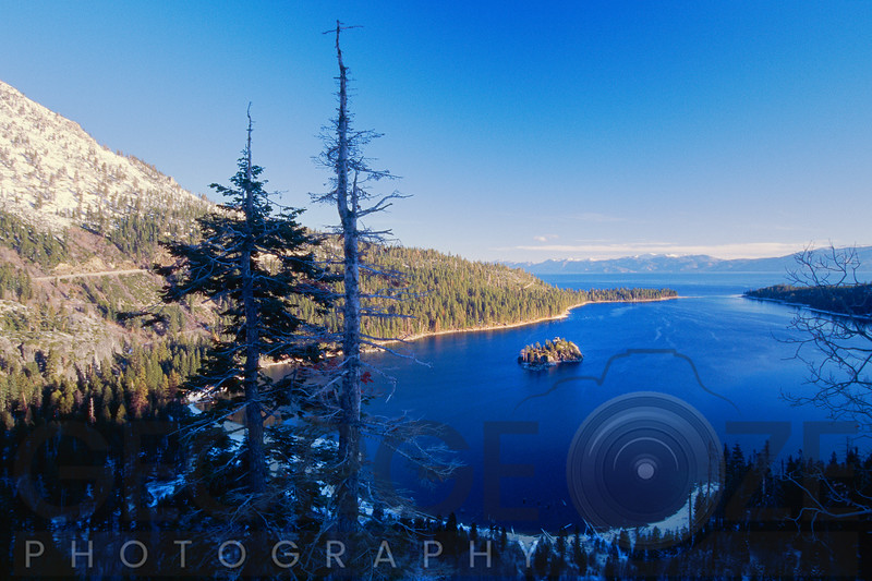 High Angle View of the Emerald Bay in Winter, Lake Tahoe, California