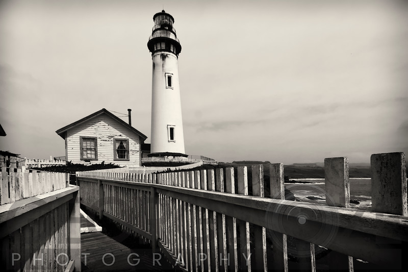 Pigeon Point Lighthouse with Fenced Walkway, San Mateo County, California, USA
