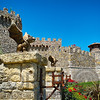 Low Angle View of a Castle with Gargoyles on the Entrance Gate, Castello Di Amorosa, Calistoga, California