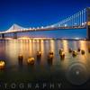 A Suspension Bridge Lit Up at Night, Bay Bridge Western Section, San Francisco, California