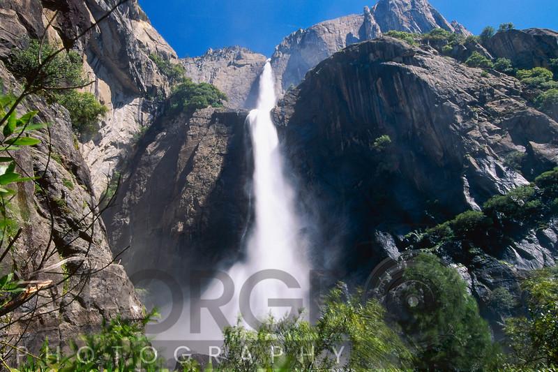 Low Angle View of the Yosemite Fallas, California