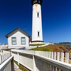 Low Angle View of the Pigeon Point Lighthouse with a Fence, San Mateo County, California