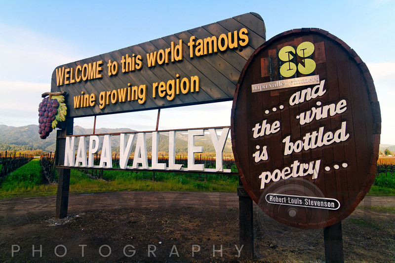 Welcome Sign to Napa Valley, Calistoga, California