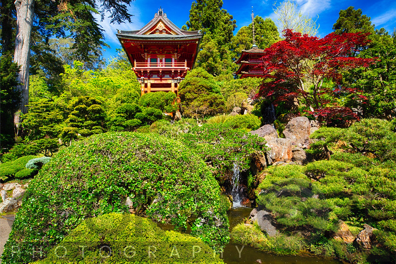 Traditional Japanese Pavilions in a Garden with a Small Waterfall