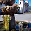 Vertical View of a Fountain and Mission, Santa Barbara, California