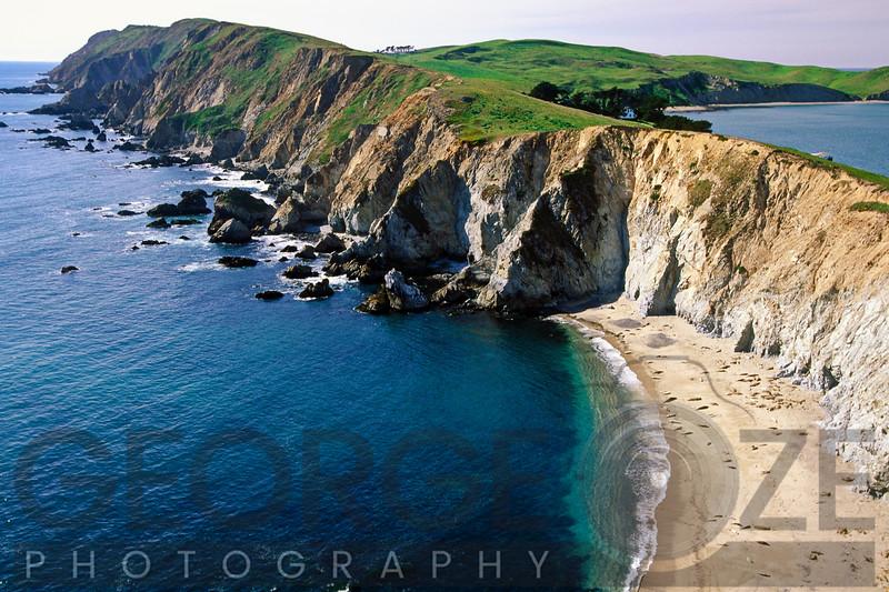 High Angle View of a Rocky Shoreline, Chimney Rock, Point Reyes Nat'L Seashore, California