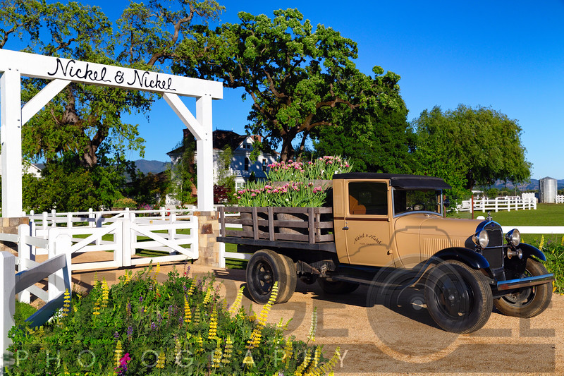 Antique Truck  on Display at the Entrance Gate of the Nickel & Nickel Winery, Rutherford, Napa Valley, California