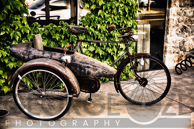 Classic Bicycle with a Side Car in Napa Valley