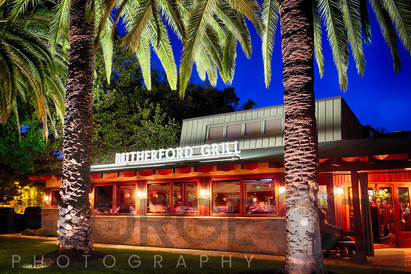 Rutherford Grill Frontal View at Night, Napa Valley, California