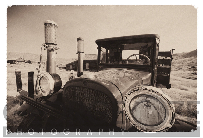 Old Time Picture of a Truck at a Gas Station, Bodie Historic State Park, California