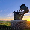 The Grape Crusher Statue at Sunset, Napa Valley, California