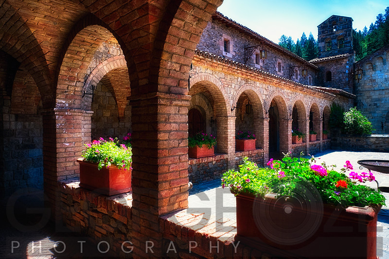 Colonnade and Courtyard of a Tuscan Style Castle; Castello de Amorosa Winerty Calistoga, Napa Valley, California
