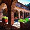 Colonnade and Courtyard of a Tuscan Style Castle; Castello de Amorosa Winerty Calistoga, Napa Valley, California