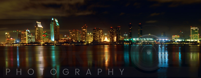 Panoramic View of San Diego at Night