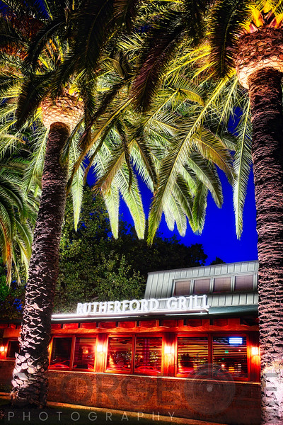 Exterior View of a Restaurant with Palm trees in Napa Valley