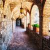 Archways of a Tuscan Castle in Napa Valley, Castello Di Amorosa, Calistoga, California