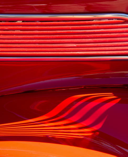 Light And Shadows On Red Hot Rod