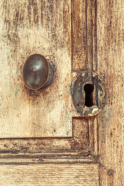 Old 19th Century Doorknob And Keyhole