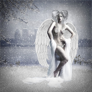 Winter Angel. Sofar my favorite manipulation! It was made for a contest on Deviant Art.com. The city in the background is an old Louisville, KY photo I took August 2009. It took me three days to create this using Photoshop 7. Contact me for stock credit. Prints look great on metallic paper!!