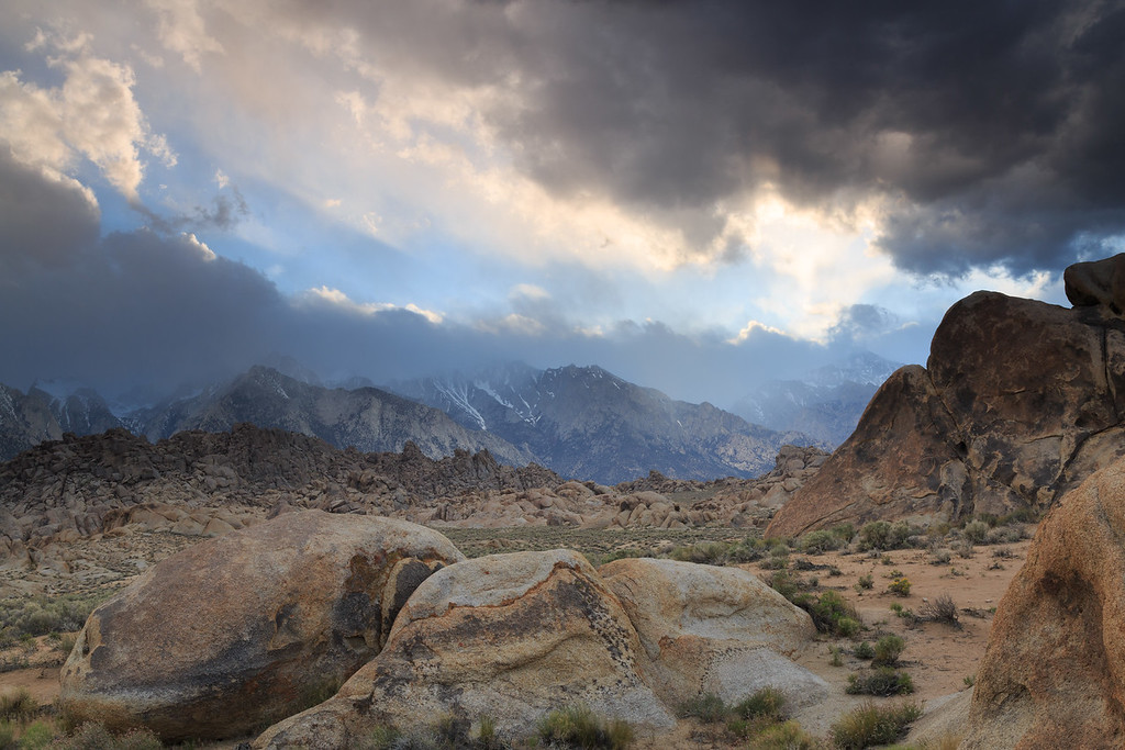 Clouds open briefly over Alabama Hills
