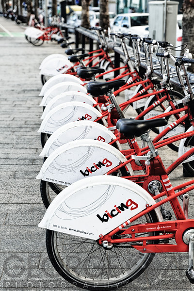 Close Up View of a Row of Bicycles for Rent, Barcelonete Beach, Barcelona, Catalonia, Spain