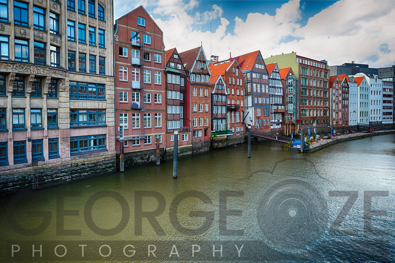 Colorful Row Houses in Old Town Hamburg Along a Canal
