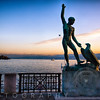 Statue of  Ganymed on the Zurich Lake at Sunset, Switzerland