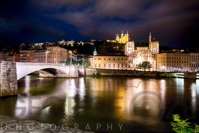 Old Lyon Night Scenic with the Bonaparte Bridge, France