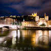 Old Lyon Night Scenic with the Bonaparte Bridge, France
