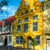 Quaint Yellow House in Old Town Lubeck, Germany