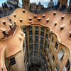 Rooftop View of Casa Mila (La Pedrera) With Group of Chimneys and Courtyard, Barcelona, Catalonia, Spain