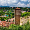 View of Mediaval City Wall and Tower on the Hill, Florence, Tuscany, Italy