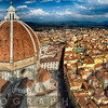 High Angle Panoramic View of the Florence with the Dome of the Basilica of Saint Mary of the Flower, Tuscany, Italy