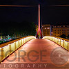 Single Pylon Footbrige Illuminated at Night, Lyon, France