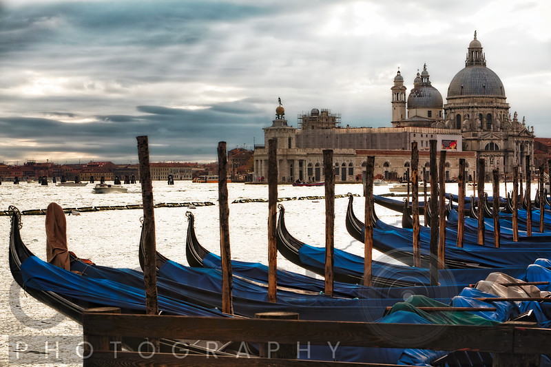 Gondolas on Grand Canal with a Basilica in the Background, Venice, Italy