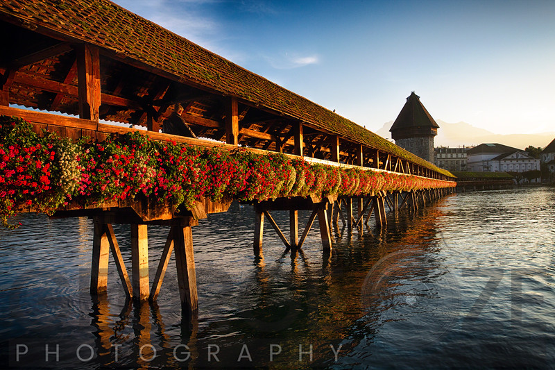 Low Angle View of a Wooden Footbridge, Chapel Bridge, Lucerne, Switzerland