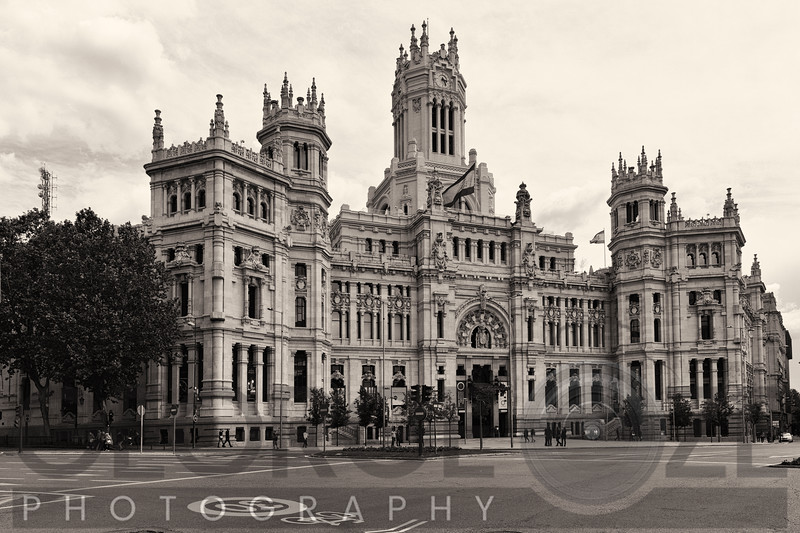 View of the Cibeles Palace (Current Madrid City Hall),Plaza de Cibeles, Madrid Spain