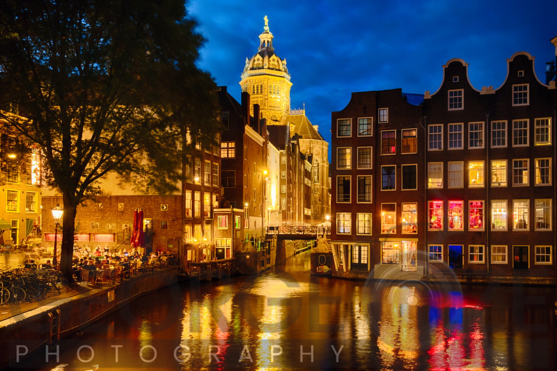 Night  in Amsredam with Illuminated Buildings,Netherlands