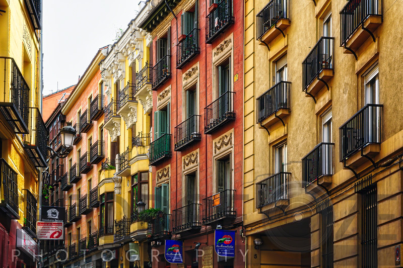 Colorful Balconies of Calle De Las Fuentes, Madrid, Spain