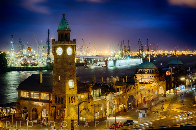 Port Of Hamburg Night View at Pier 3, St Pauli, Hamburg, Germany