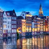 Amsterdam Old City at Night with the Oude Church, The Netherlands